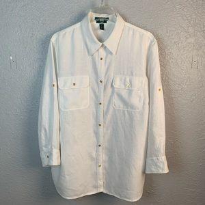 Lauren Ralph Lauren Exclusive White Linen Blouse